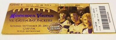 Brett Favre 421st TD Record Ticket Stub Green Bay Packers Minnesota Vikings Brett Favre Td Record