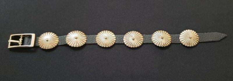 Navajo sterling silver concho leather bracelet