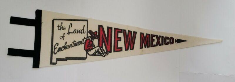 Vintage New Mexico Land of Enchantment souvenir felt flag pennant banner