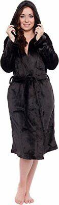 Silver Lilly Lightweight Hooded Kimono Robe for Women - Plush Comfy Bathrobe (Si Hooded Kimono Robe