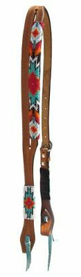 (New Leather Split Ear Western Bosal Hanger Headstall Bridle aztec Beaded 14065)