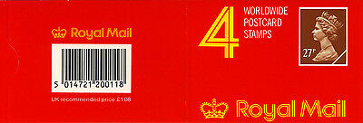 QEII 1988 GF2 (X973m) Phosphor Paper Walsall 4 x 27p Barcoded Booklet Cat £40