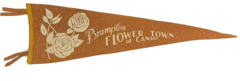 "Vintage 1950-60's Brampton Ont Canada 26"" Felt Pennant Flower Town Of Canada"