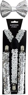 New Silve Glitter Suspenders Sequin Shiny Bow Tie Set Classic Dance Tuxedo Combo - Sparkle Suspenders