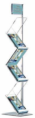 Eleganter Boden Prospektständer Zick Zack 1- Beinig mit Top-Schild