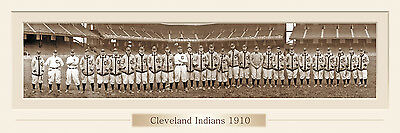 VINTAGE 1910 CLEVELAND INDIANS TEAM PANORAMIC PRINT 12 X 36 W/DOUBLE FAUX MATTE