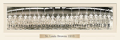 VINTAGE 1910 ST LOUIS BROWNS BASEBALL TEAM  PRINT 12 X 36  W/DOUBLE FAUX MATT