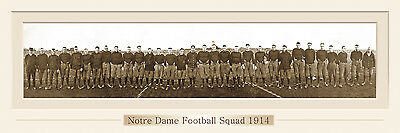 VINTAGE NOTRE DAME FOOTBALL 1914 PANORAMIC PRINT 12 X 36  W/DOUBLE FAUX MATTE