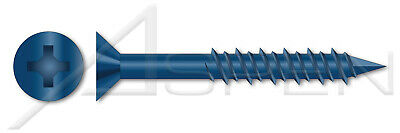 1200 Pcs 14 X 2-34 Concrete Screws Flat Phillips Drive Blue Coating