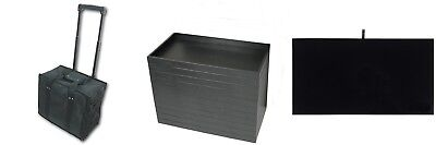 Premium Rolling Carrying Case 12 Black Pad Insert Trays Jewelry Medals Pins