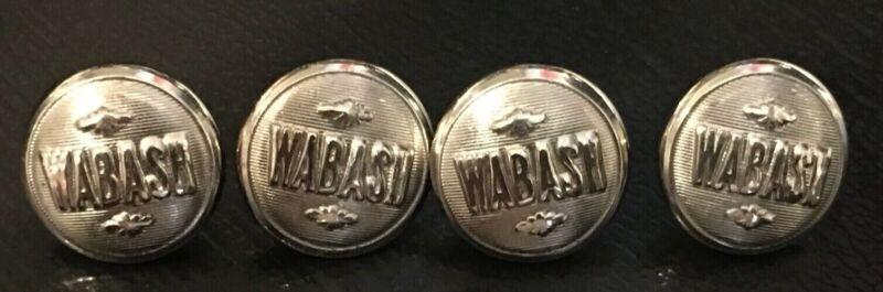 4 WABASH Railroad chrome uniform buttons