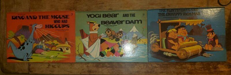 3 Vintage Pop Up Books The Flintstones Dino Yogi Bear Hardcover 1974