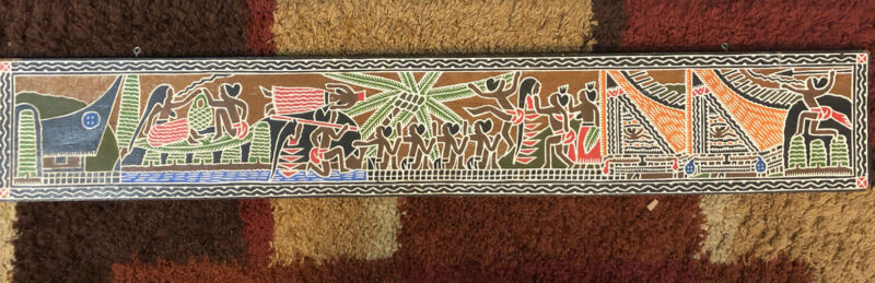 Wooden Palauan Carved Storyboard Signed Ngiraibuuch Skedong 4 Foot Long