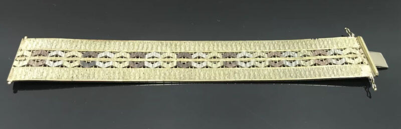 """Vintage 8K Yellow Gold Italy Stamped 333 1"""" Wide 6 1/4"""" Bracelet 39.9g"""