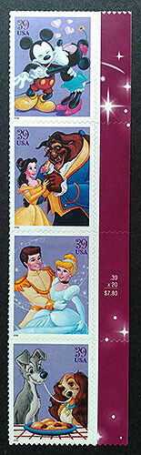US Scott 4025-28, Art Of Disney, Strip Of 4, MNHOG. 25  - $5.00