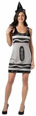 - Womens Adult Sexy Crayola Black Crayon Tank Dress Costume Outfit W/ Hat