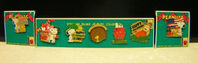 Peanuts Snoopy Wincraft Holiday Christmas Cloisonne Enamel Pinback Pin Set of 7
