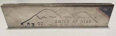 Swiss Of Utah America  Counter Stamp  Handy Harman 5 53 Oz  999 Silver Old Pour