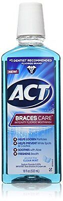 ACT Braces Care Anticavity Fluoride Mouthwash with Xylitol Clean Mint 18oz Each ()