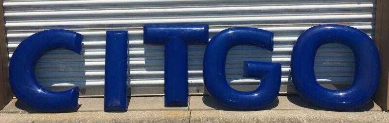 "Vintage Citgo Gas Station Sign 24"" Plastic Letters Advertising Man Cave Blue"