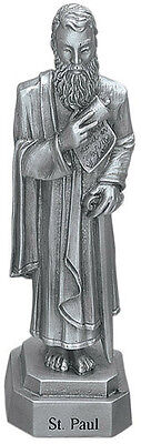 Statue St Paul 3.5 inch Pewter Silver Figurine Patron Saint Catholic Card Boxed