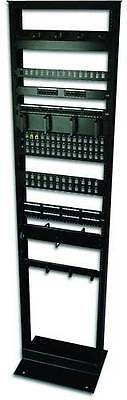 "7ft Open Frame 19"" 45U 2-Post Black IT Network Server Relay Rack 900lbs Capacity"