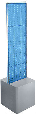 2-sided Pegboard Floor Display In Blue 13.5w X 44h Inches With Studio Base
