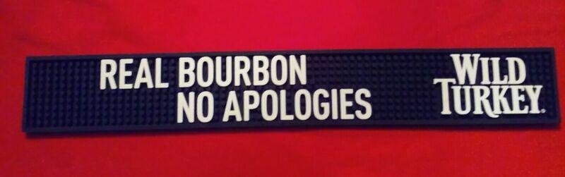 Wild Turkey Real Bourbon No Apologies Bar Rail Spill Mat **NEW**