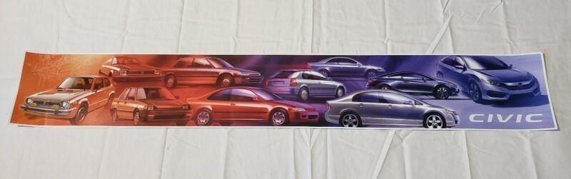 "Honda Civic Generations Promo Poster 37""× 5"" USA"
