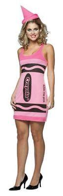 Damen Erwachsener Reiz Crayola Tickle Me Pink Farbstift Tank-Kleid Kostüm mit - Crayola Kostüm