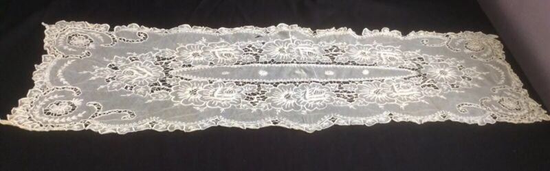 Antique French TAMBOUR NET Lace Table RUNNER Vintage White Satin Embroidered #3