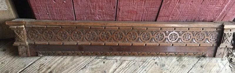 Atq Architectural Wood Walnut PEDIMENT HEADER Mantel Board Salvage Molding 43.25