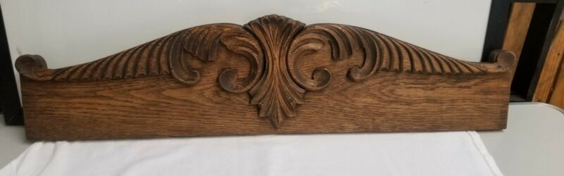 Antique Architectural Wood Oak Carved PEDIMENT HEADER Mantel Salvage Mirror Top