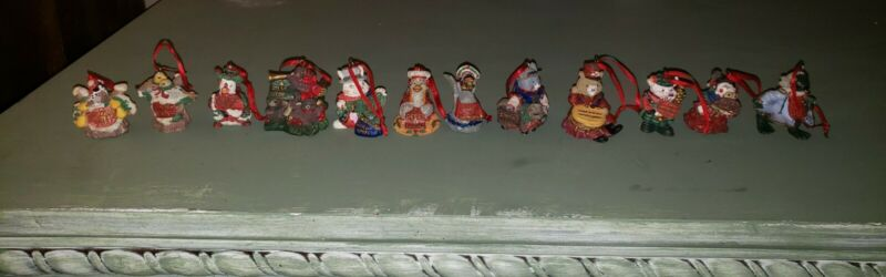 Complete Set! Giny Inc 1992 The 12 Days Of Christmas Ornaments! RARE Retired