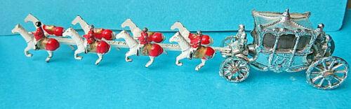 VINTAGE PAINTED ROYAL CORONATION  COACH & HORSES.LEAD TOY.