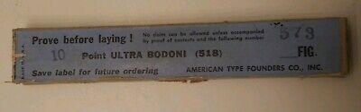 Vintage New Metal Printing Press Type Atf Ultra Bodoni 10 Point Figuresnumbers