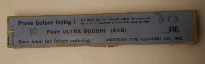 VINTAGE NEW! Metal Printing Press Type ATF ULTRA BODONI 10 POINT FIGURES/NUMBERS