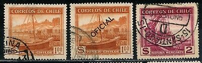 1938 to 1940 Chile three USED one ovptd. OFFICAL