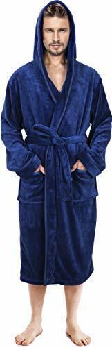 Men Robe Men Hooded Bathrobe Fleece Shawl Collar Robe in Lot NY Threads