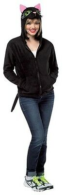 Womens Black Cat Hoodie Jacket Costume Zipper Front Hooded Coat S M L XL Adult (Black Cat Womens Costume)