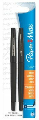 Paper Mate Point Gurd Porous Flair Pen - Black Ink - Black Barrel - 2 Pap84324