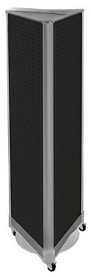 Styrene 3 Sided Pegboard Tower Display In Black 16w X 60h Inch With Wheeled Base