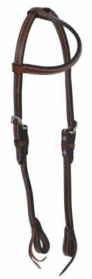 (WESTERN SADDLE HORSE LEATHER ONE EAR HEADSTALL BRIDLE DARK OIL BROWN)