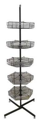 74 5-tier Metal Spinning Merchandise Display Retail Sales Basket Bin Rack Shelf