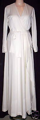 SEARS FASHION WOMEN's VINTAGE 70'S IVORY WRAP-OVER COCKTAIL DRESS GOWN sz Small