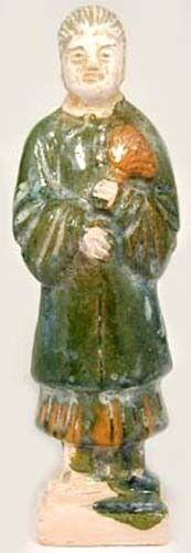 Ming China Sancai Statuette Antique 15thC Color Statuette Female Housecleaner LG