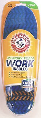 Arm & Hammer Memory Foam Work Insoles, Men's Sizes 8-13, 1 Pair Each