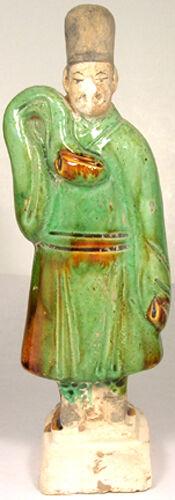Antique 15th Century China Exceptional Large Glazed Multi-Color Sancai Statuette
