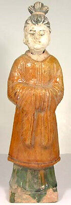 14thC Antique China VL Glazed Multi-Color Sancai Votive Statuette Female Servant