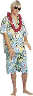 Hawaiian Shirt and Shorts Adult Luau Surfer Dude Aloha Guy Tacky Tourist - Hawaiian Tourist Costume